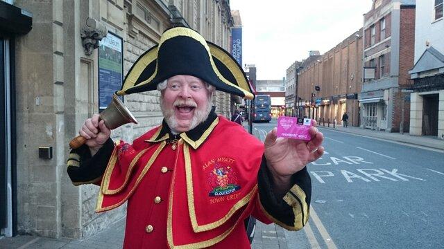 Gloucester Town Crier Alan Myatt with his Residents Card.