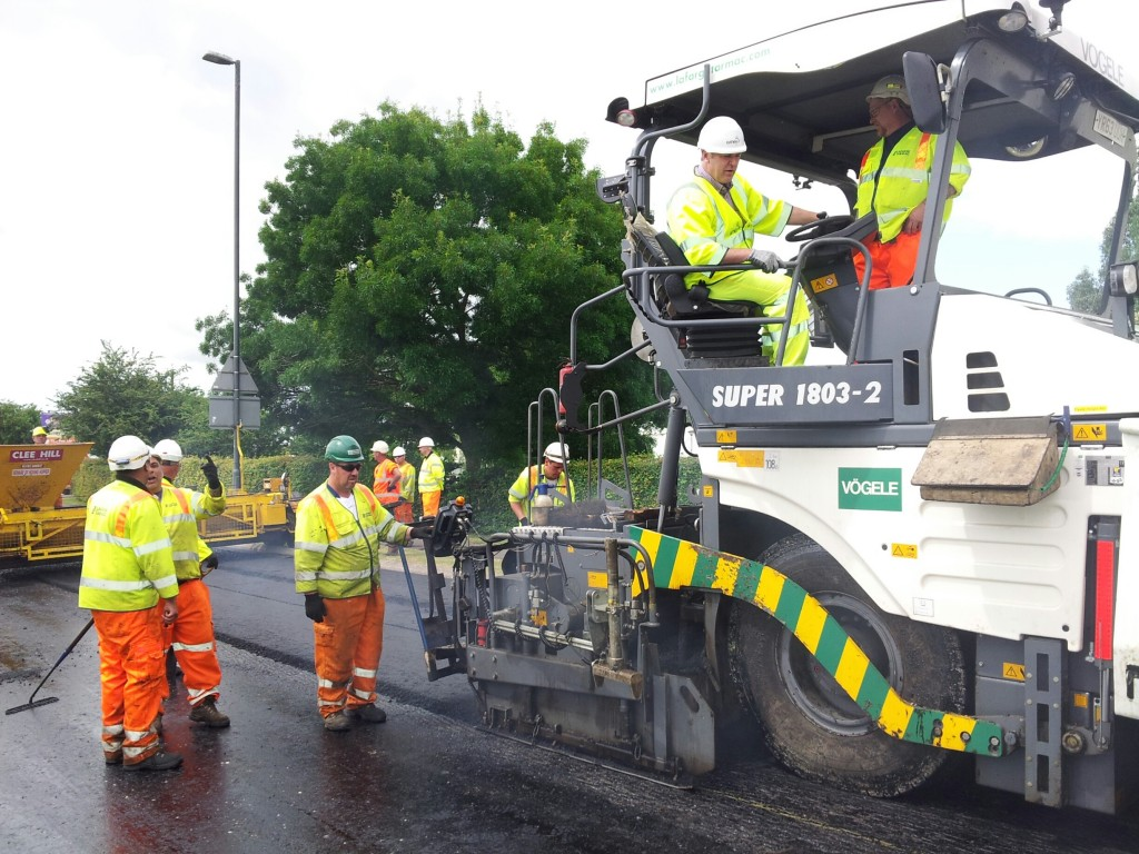 Cllr Vernon Smith, cabinet member  for highways resurfacing on the A38 at Whitminster Summer 2014 (1)