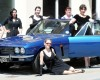 Left to right, Kitty Ribbons, Zoe Mortiboy, Lisa Farrell, Esme Barker,Harriet Tweddle, Jackee Harrhy (corr), Misty Jonville, with a 1972 Jensen Interceptor at the Blackfriars Priory Vintage Fair in Gloucester on Saturday. (PIC PAUL NICHOLLS)  6 JULY 2013