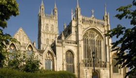 Gloucester Cathedral exterior front - Copyright © W Lloyd MacKenzie, all rights reserved.