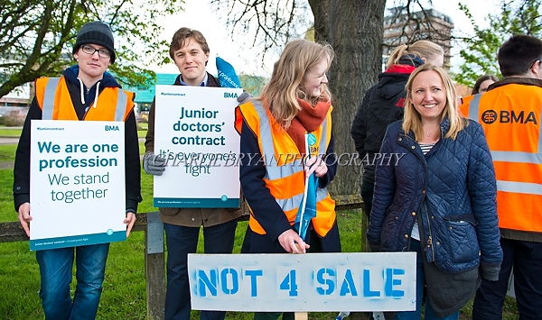 Gloucester U.K.Gloucesteshire Royal Hospital  Junior doctors at the start of their all out strike, including A+ E, outside Gloucesteshire Royal Hospital.The dispute will last until  27th April 2016.