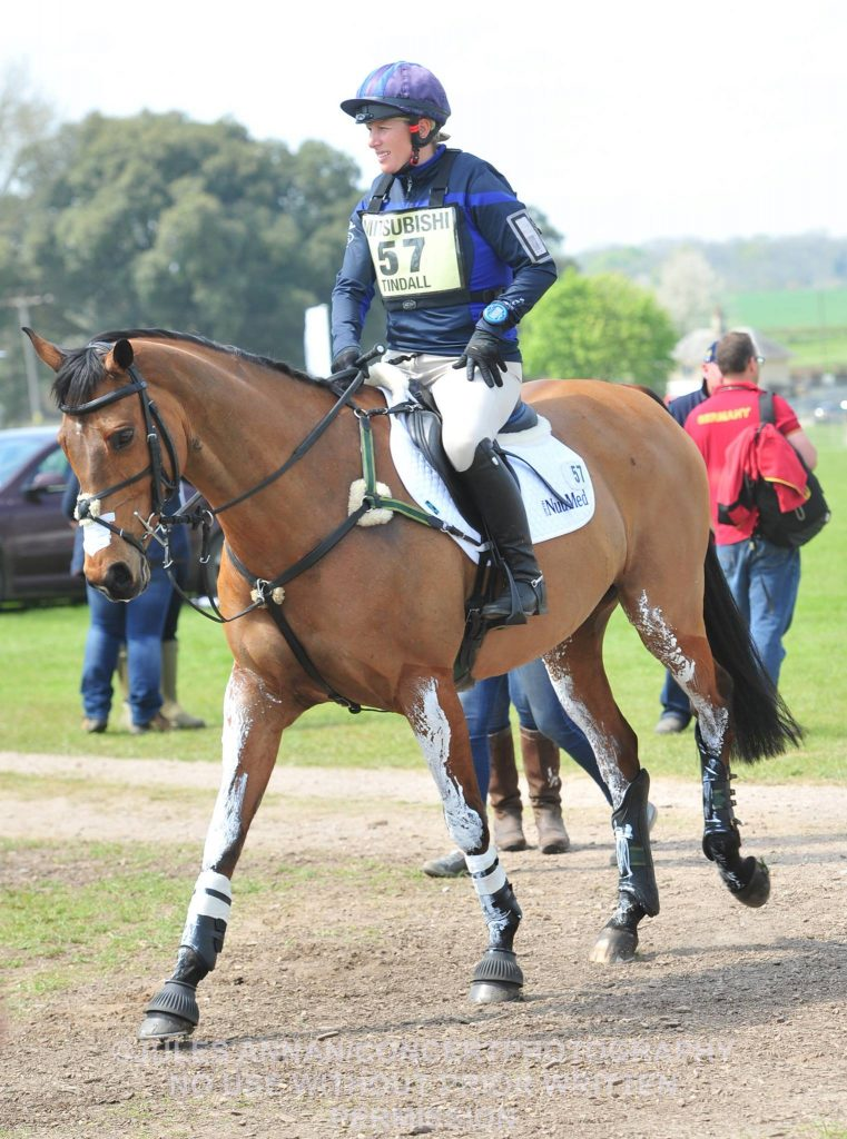 Zara Tindall onboard High Kingdom preparing for the cross country course yesterday.