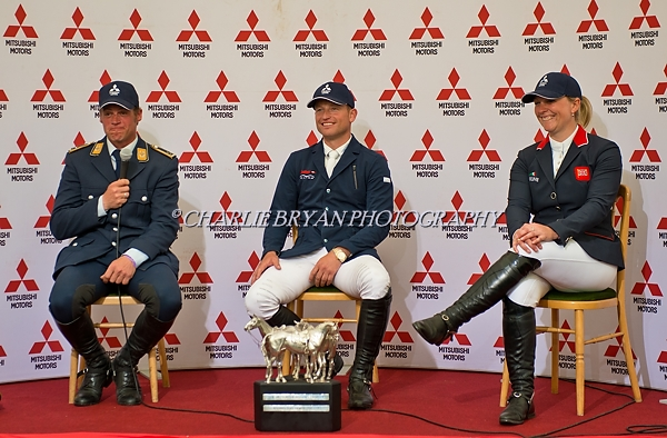 Picture By: Charlie Bryan  Picture :Badminton Gloucestershire U.K.Mitsubishi Motors Badminton Horse Trials.Winner Michael Jung Germany, Second place Andreas Osholt from Germany and Third place Gemma Tattershall from Great Britain at a post event press conference. Date 08/05/2016 Ref: