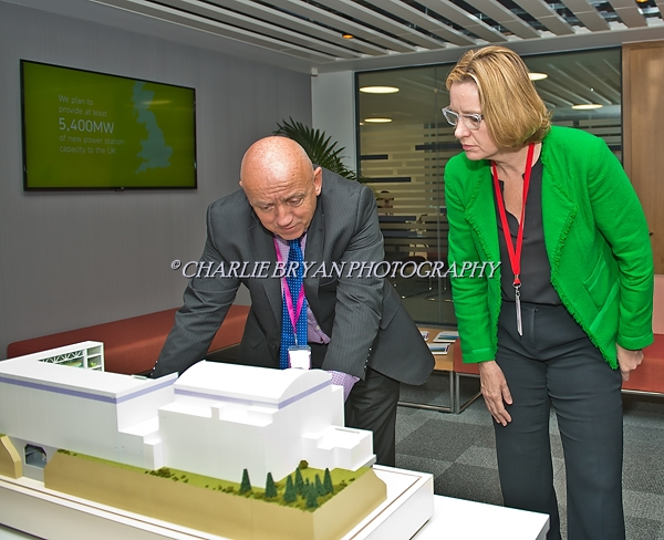 Gloucester Gloucestershire.Amber Rudd Secretary of State for Energy & Climate with Duncan Hawthorne CEO of Horizon Nuclear power visits Horizons HQ to debate brexit....