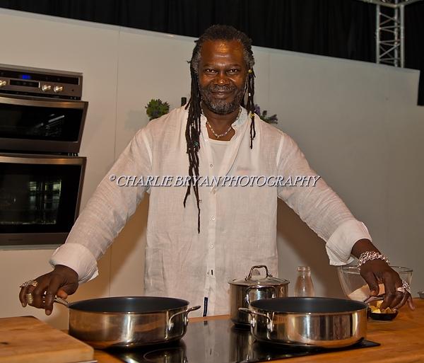Gloucester UK. Gloucester Quays Food Festival..Celebrity Chef and Reggae Reggae sauce entrepreneur Levi Roots doing a cooking demonstration at the 2016 Gloucester Quays Food Festival.